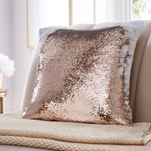 Tess Daly Sequin Cushion, Rose Gold