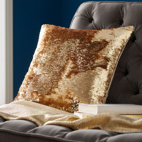 Tess Daly Sequin Cushion, Gold