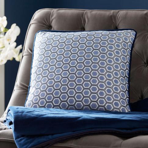Tess Daly Hexagon Square Cushion, Midnight