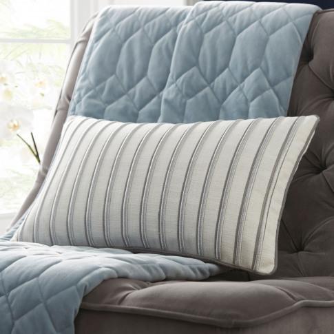 Tess Daly Metallic Stripe Boudoir Cushion, Silver