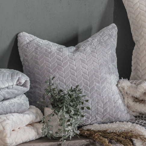Gallery Embossed Chevron Cushion, Silver