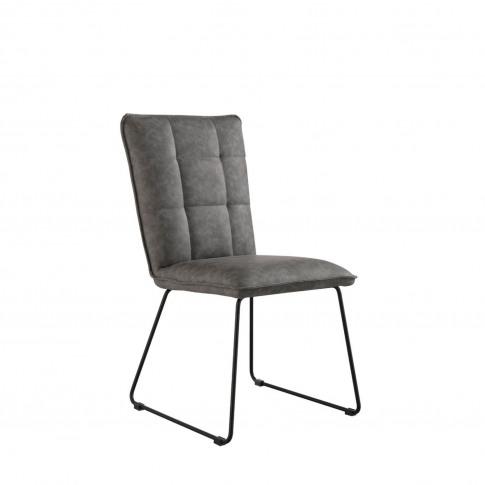 Casa Pair Of Panel Dining Chairs, Dark Grey