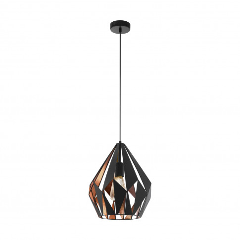 Eglo Carlton Pendant Light, Black & Copper