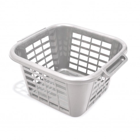 24l Square Laundry Basket, Metallic