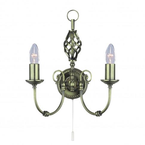 Searchlight Zanzibar Wall Light, Antique Brass