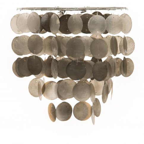 Capiz Shell Tiered Ceiling Shade, Grey Mix