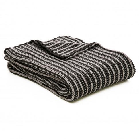 Casa Two Tone Tinke Knit Throw, Charcoal
