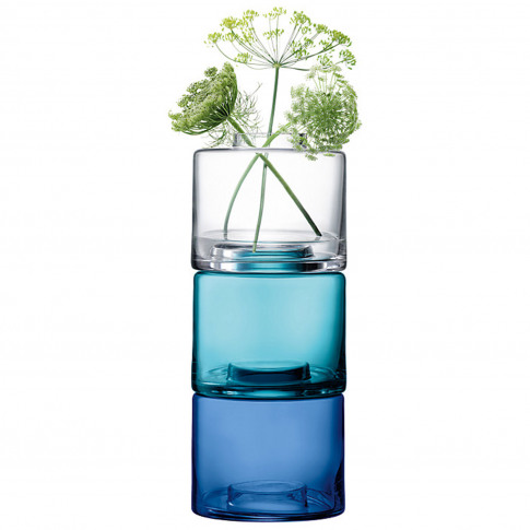 Lsa Stack Vase Trio, 41.5cm, Blue Mix