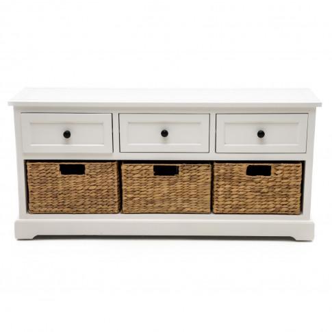 Casa 3 Drawer/3 Basket Sideboard, White/Natural