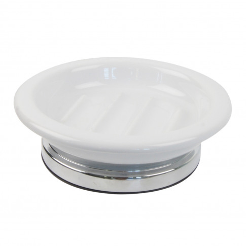 Miller Ceramic Soap Dish, White/Chrome