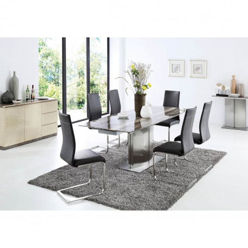 Casa Wave Dining Table & 6 Chairs Dining Set