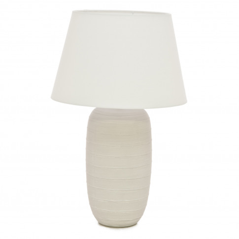 Casa Banded Ridge Table Lamp, White