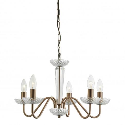 Casa Serafino 5 Light Ceiling Fitting, Antique Copper
