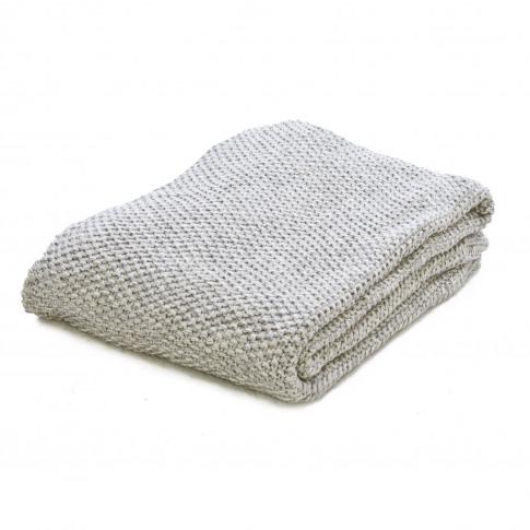Casa Moss Stitch Throw, Grey Marl
