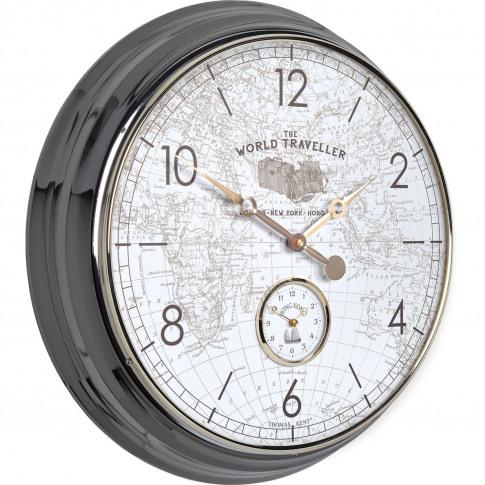 Thomas Kent Campbell World Traveller Wall Clock, Black