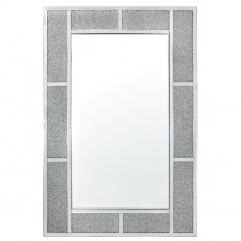 Crystal Brick Wall Mirror, Silver