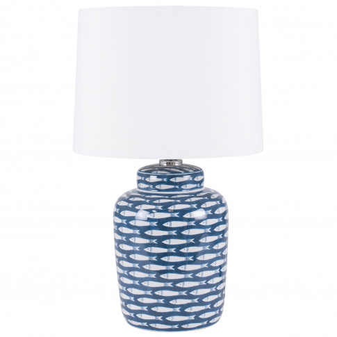 Aimbry Fish Cermaic Table Lamp, Blue & White