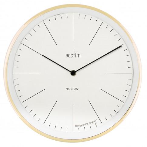 Acctim Soho Gloss Metal Wall Clock, Brass