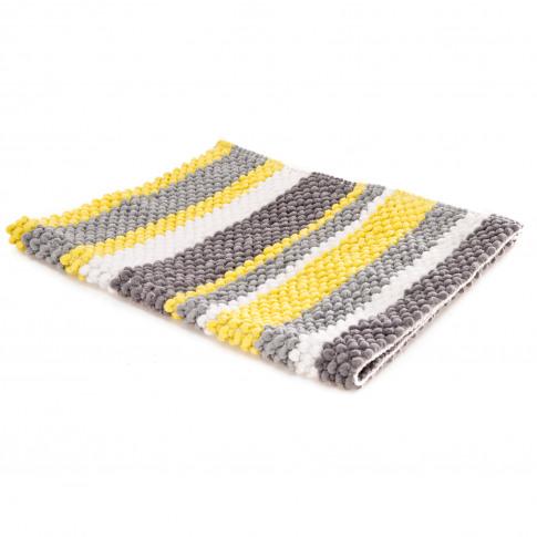 Casa Micro Stripe Bath Mat, Grey/Eau De Nil