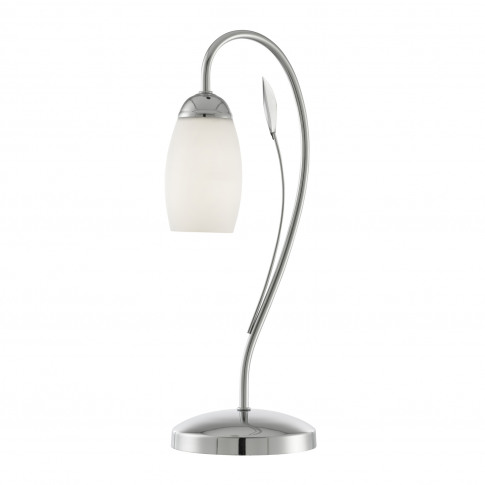Lighting Collection Leaf Detail Table Lamp, Chrome
