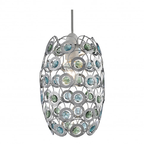 Lighting Collection Beaded Ceiling Lamp Shade, Blue