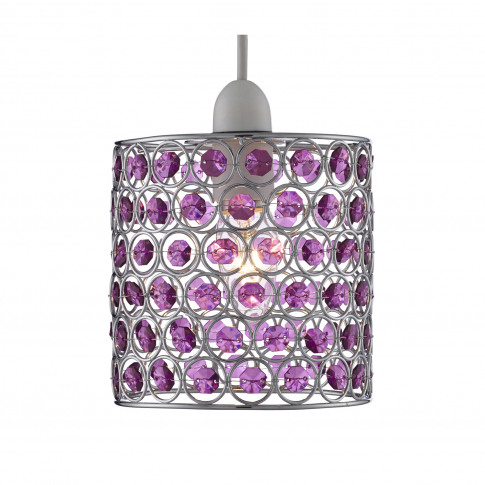 Lighting Collection Beaded Ceiling Lamp Shade, Purple