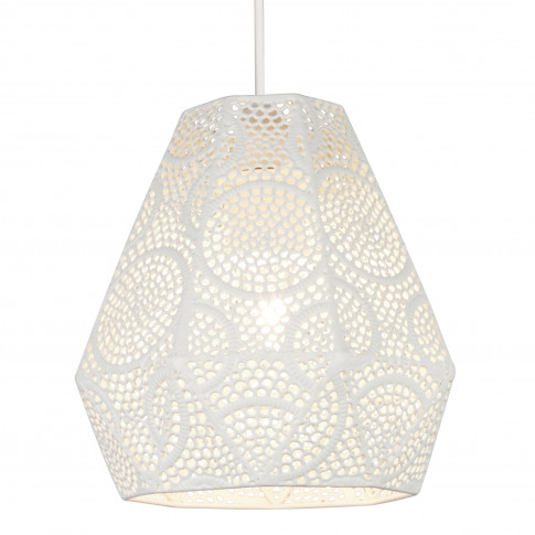 Lighting Collection Fretwork Hexaganol Shade, Cream
