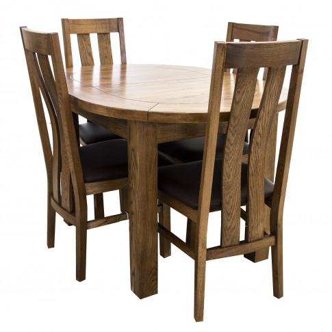 Casa Bordeaux Small D-End Table & 4 Chairs Dining Set