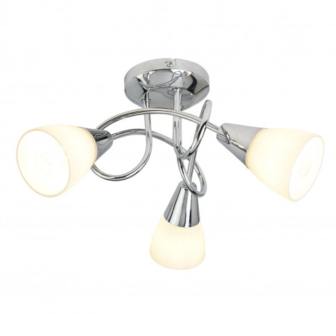 Casa 3 Light Ceiling Light With Shades, Silver
