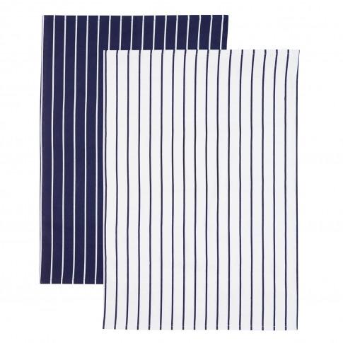 2 Pack Blue Stripe Tea Towels, Navy/White