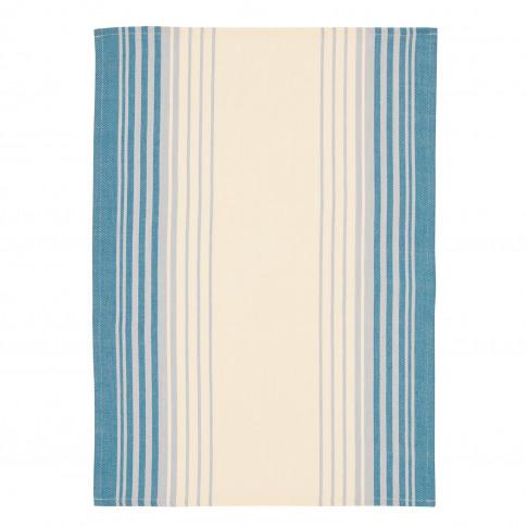 Jacquard Stripe Tea Towels, Blue/White