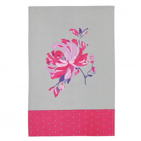 2 Pack Flower Tea Towels, Pink/Grey