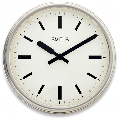 Brookpace Lascelles Smiths Large Silver Wall Clock, Chrome