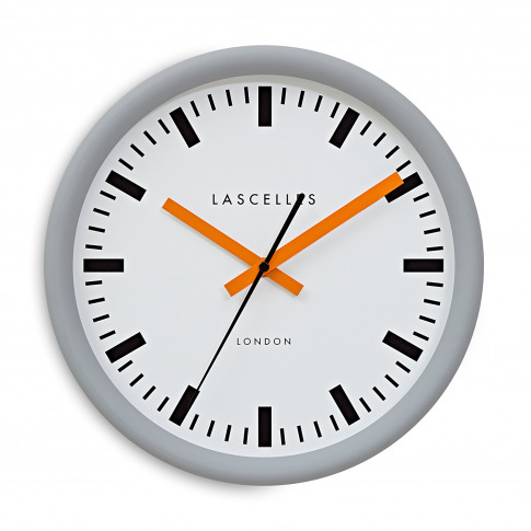 Brookpace Lascelles Swiss Station Wall Clock, Grey