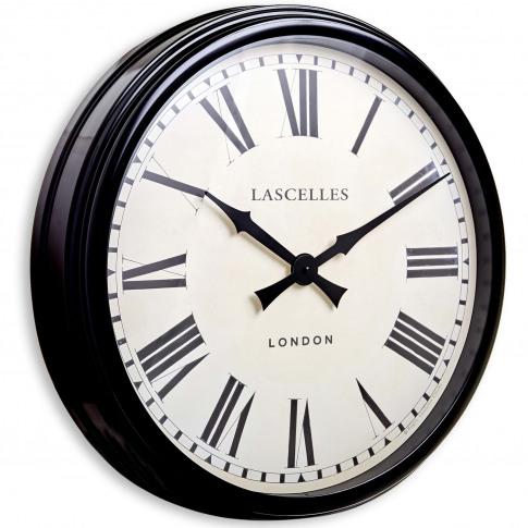 Brookpace Lascelles Large Metal Wall Clock, Black