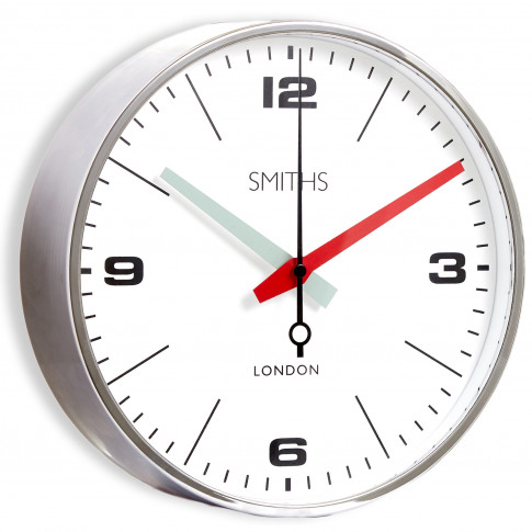 Brookpace Lascelles Smiths Wall Clock, Chrome