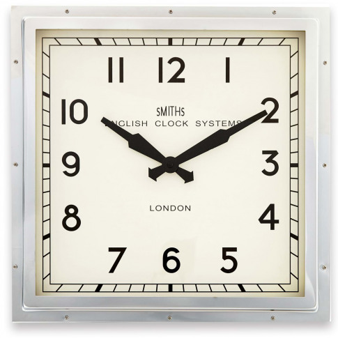 Brookpace Lascelles Smiths Square Wall Clock, Chrome