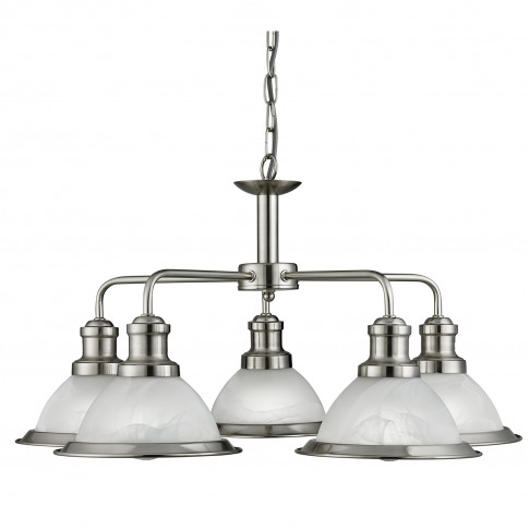 Searchlight  Bistro 5 Ceiling Light, Satin Silver