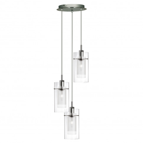 Searchlight  Duo 1 Double Glass 3 Light Pendant, Stainless Steel