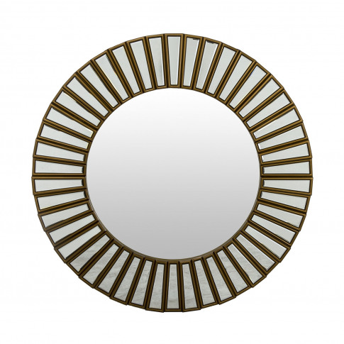 Casa Round Block Mirror, Gold