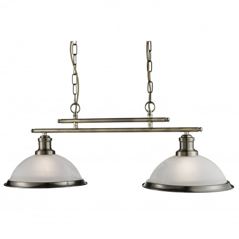 Searchlight  Bistro 2 Light Ceiling Bar, Satin Silver