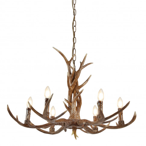 Searchlight Stag 6 Antler Ceiling Light, Rustic Brown
