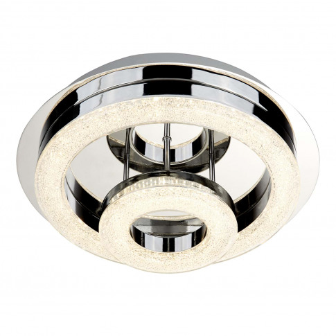 Searchlight Polo Led 2 Ring Light Flush, Chrome/Acrylic