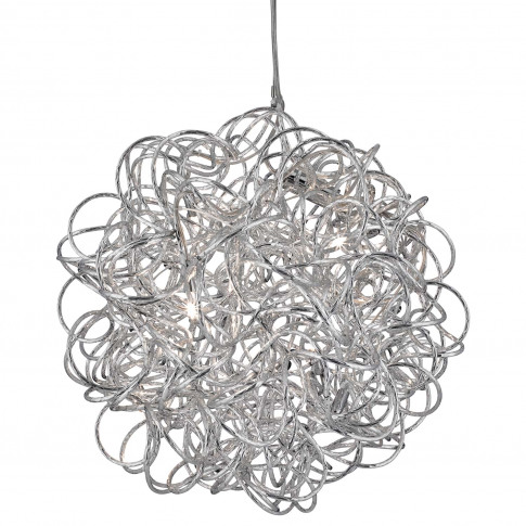 Searchlight Scribble 6 Light Pendant, Aluminium