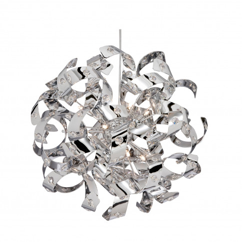 Searchlight Curls 12 Light Pendant, Chrome