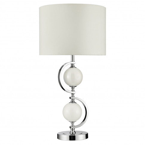 Searchlight Glass Balls Table Lamp, Chrome/White