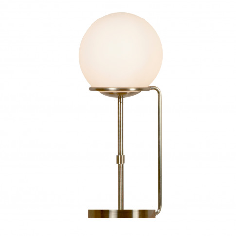 Searchlight Sphere Table Lamp, Antique Brass/Opal White