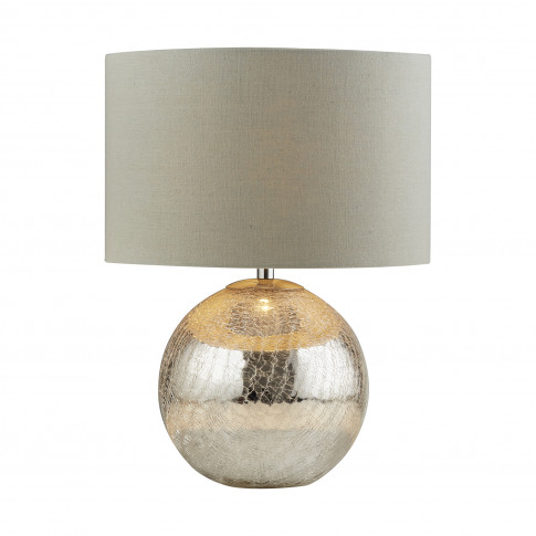Searchlight Dazzle Table Lamp, Cracked Mirror Effect/Grey