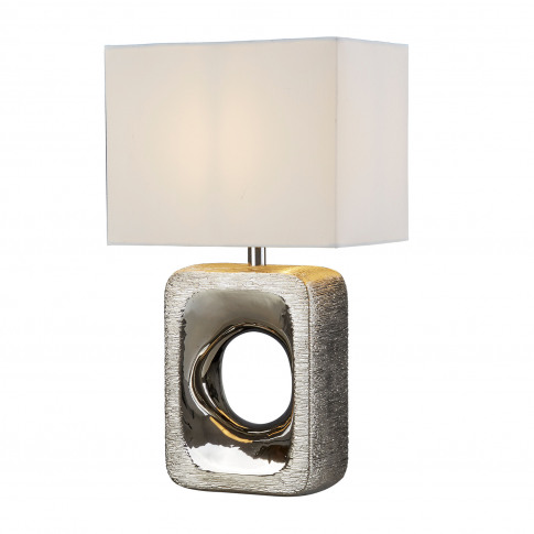 Searchlight Grange Table Lamp, Etched Silver/White