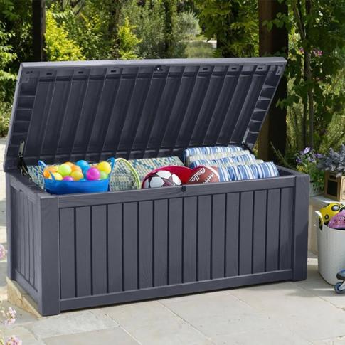 Keter Rockwood Garden Storage Box, 570l, Grey